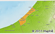 Political 3D Map of Gaza, physical outside