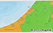 Political 3D Map of Gaza