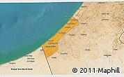 Political 3D Map of Gaza, satellite outside