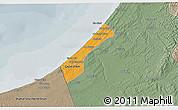 Political 3D Map of Gaza, semi-desaturated