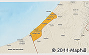 Political 3D Map of Gaza, shaded relief outside