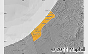 Political Map of Gaza, desaturated
