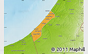 Political Map of Gaza, physical outside
