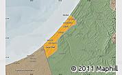 Political Map of Gaza, semi-desaturated