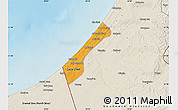 Political Map of Gaza, shaded relief outside