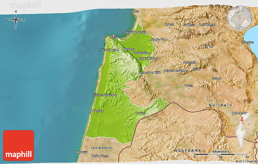 Physical 3D Map of Haifa satellite outside