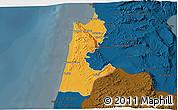 Political 3D Map of Haifa, darken