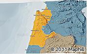 Political 3D Map of Haifa, semi-desaturated