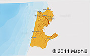 Political 3D Map of Haifa, single color outside