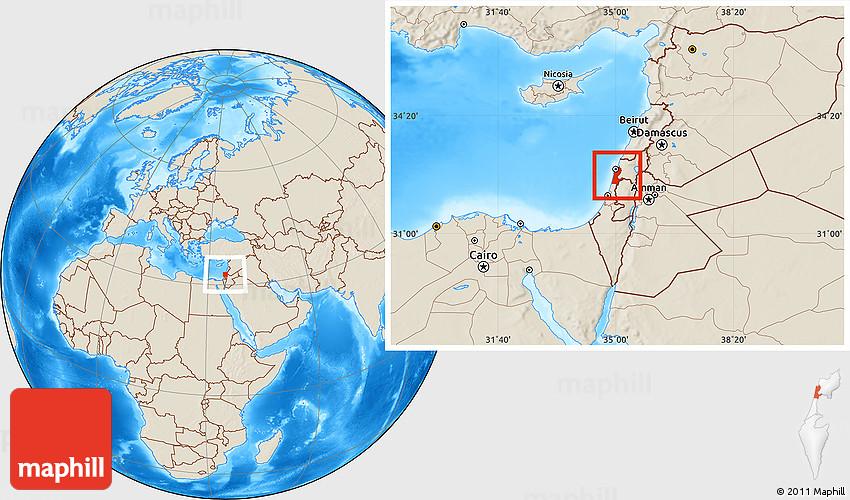 Shaded Relief Location Map of Haifa