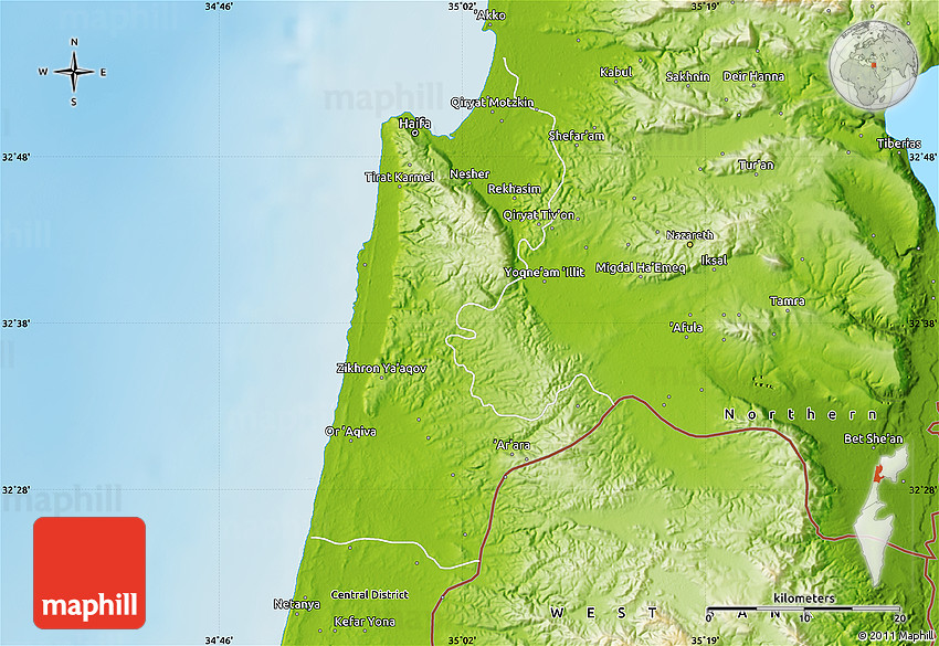 Physical Map of Haifa
