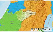 Physical 3D Map of Jerusalem, political outside