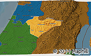 Political 3D Map of Jerusalem, darken