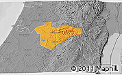 Political 3D Map of Jerusalem, desaturated