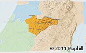 Political 3D Map of Jerusalem, lighten