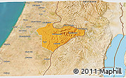 Political 3D Map of Jerusalem, satellite outside