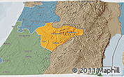 Political 3D Map of Jerusalem, semi-desaturated