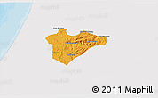 Political 3D Map of Jerusalem, single color outside