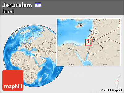 Free Shaded Relief Location Map Of Jerusalem - Jerusalem location