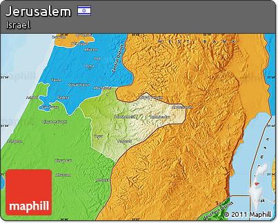 Free Physical Map of Jerusalem political outside