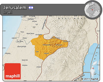 Free Political Map of Jerusalem shaded relief outside