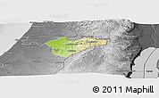 Physical Panoramic Map of Jerusalem, desaturated