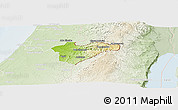 Physical Panoramic Map of Jerusalem, lighten