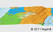Physical Panoramic Map of Jerusalem, political outside