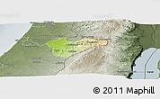 Physical Panoramic Map of Jerusalem, semi-desaturated