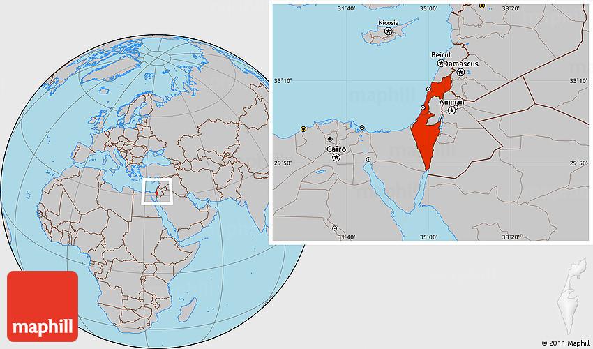 Gray Location Map of Israel