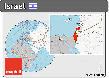 Free Gray Location Map of Israel, highlighted continent
