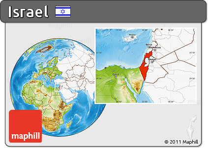 Free Physical Location Map Of Israel Highlighted Continent - What continent is israel located