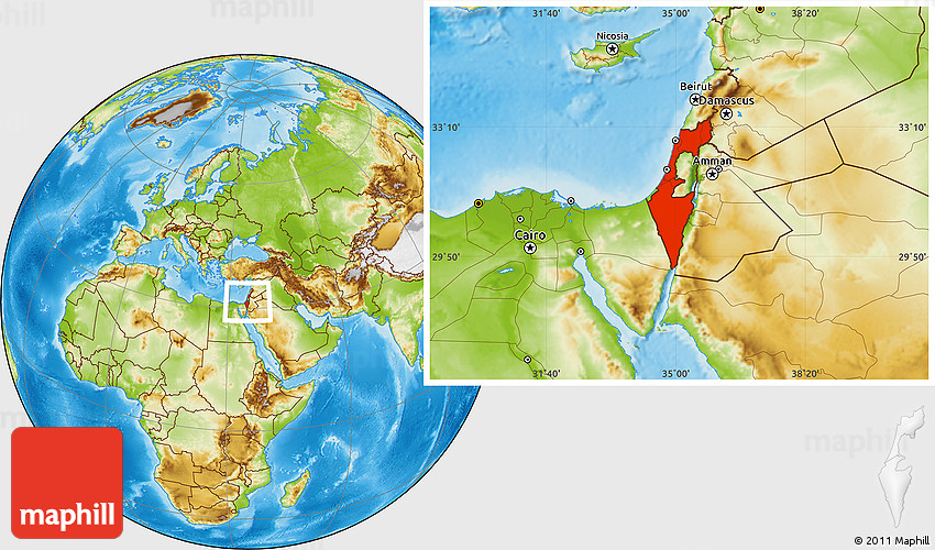 Physical Location Map Of Israel - Israel maps