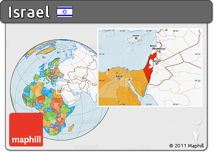 Free Political Location Map of Israel, highlighted continent