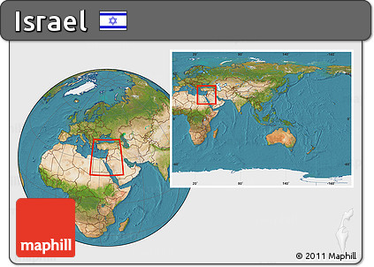 Free Satellite Location Map Of Israel Within The Entire Continent - What continent is israel in