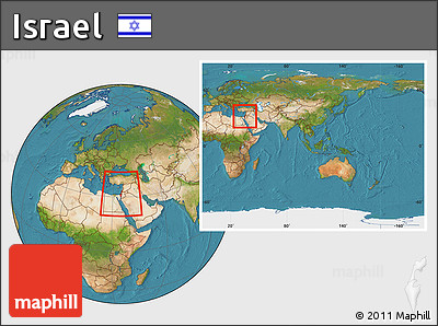 Free Satellite Location Map Of Israel Within The Entire Continent - What continent is israel located