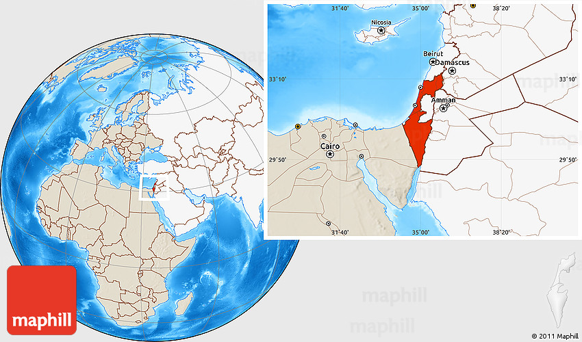 Shaded relief location map of israel highlighted continent publicscrutiny Images