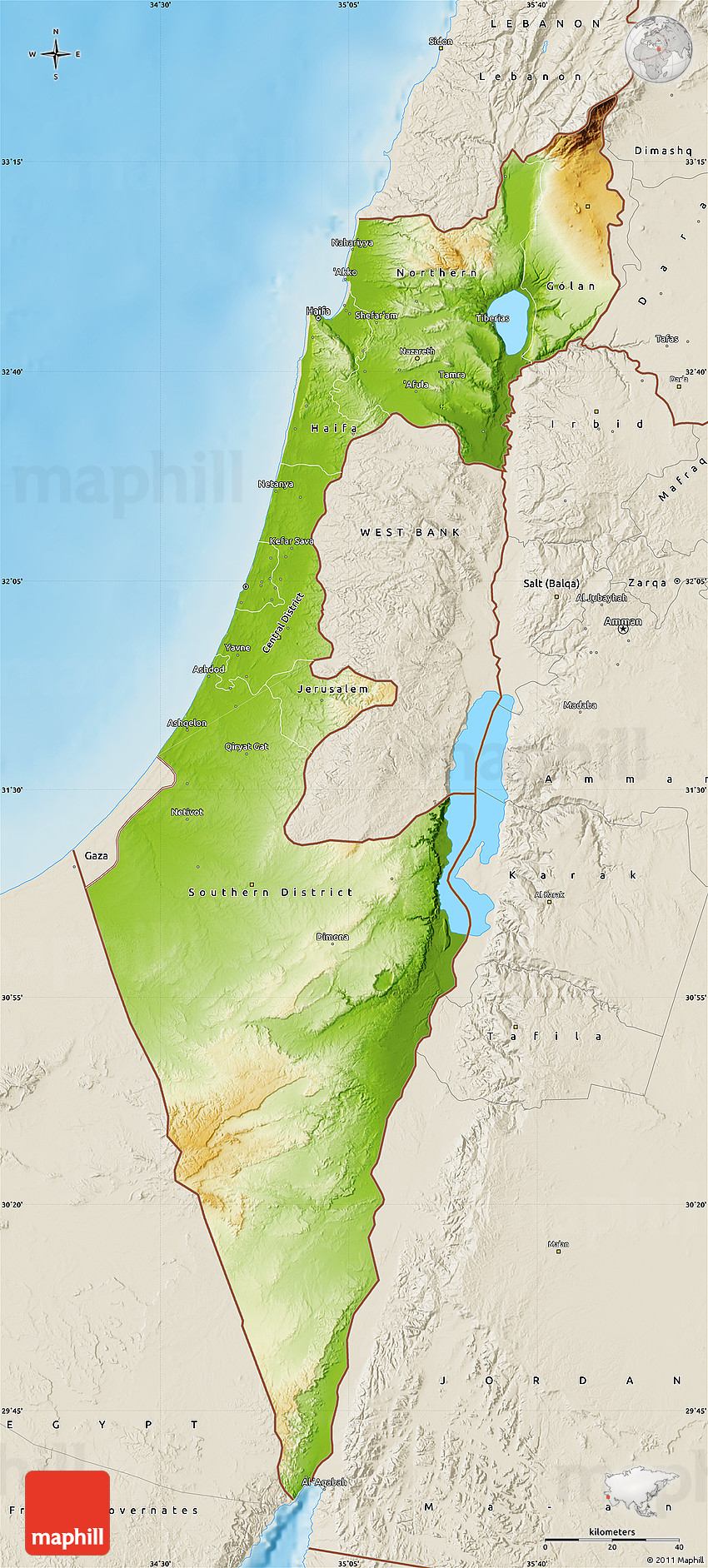 Physical Map Of Israel Shaded Relief Outside - Map of israel