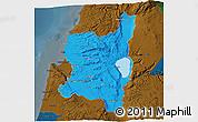 Political 3D Map of Northern, darken