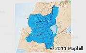 Political 3D Map of Northern, lighten