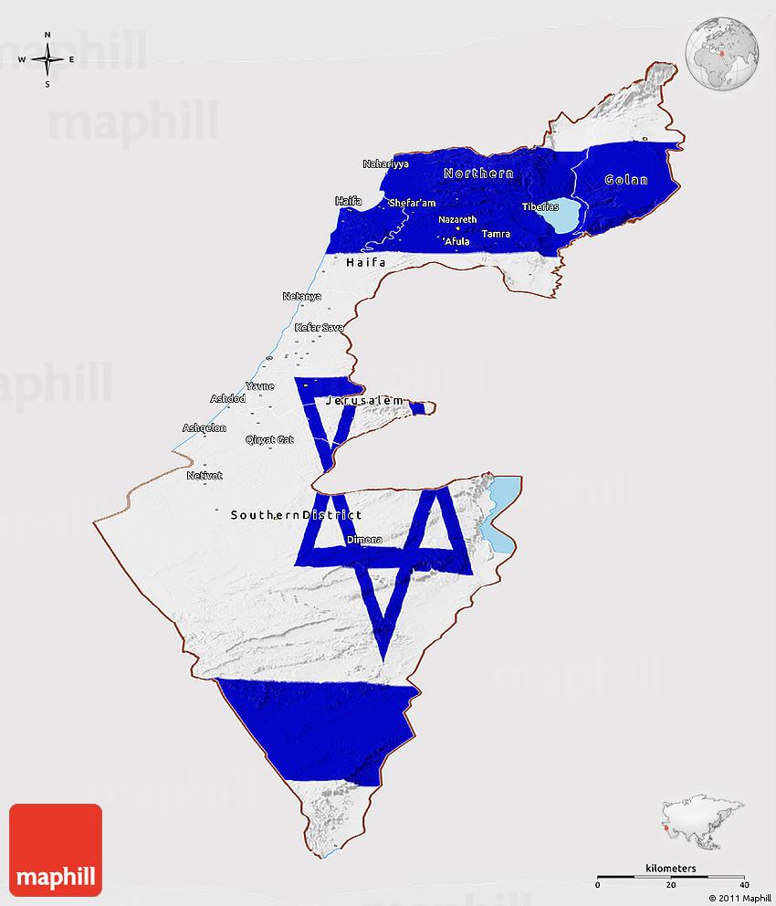 Flag Panoramic Map of Israel