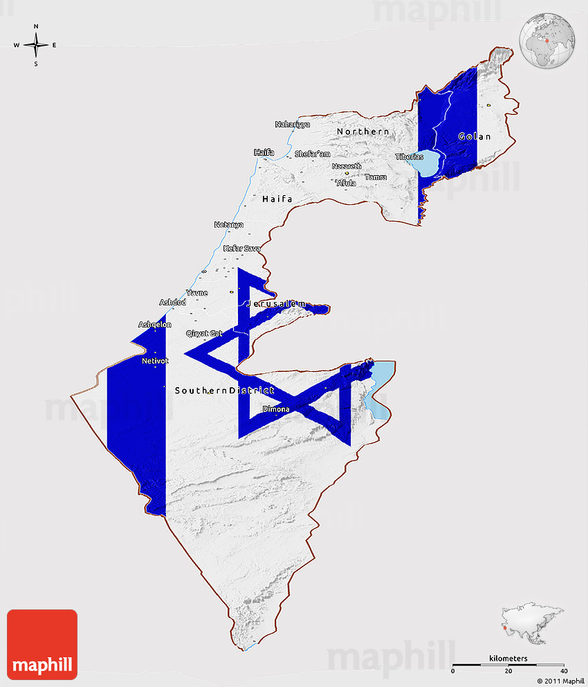 Flag Panoramic Map of Israel flag rotated