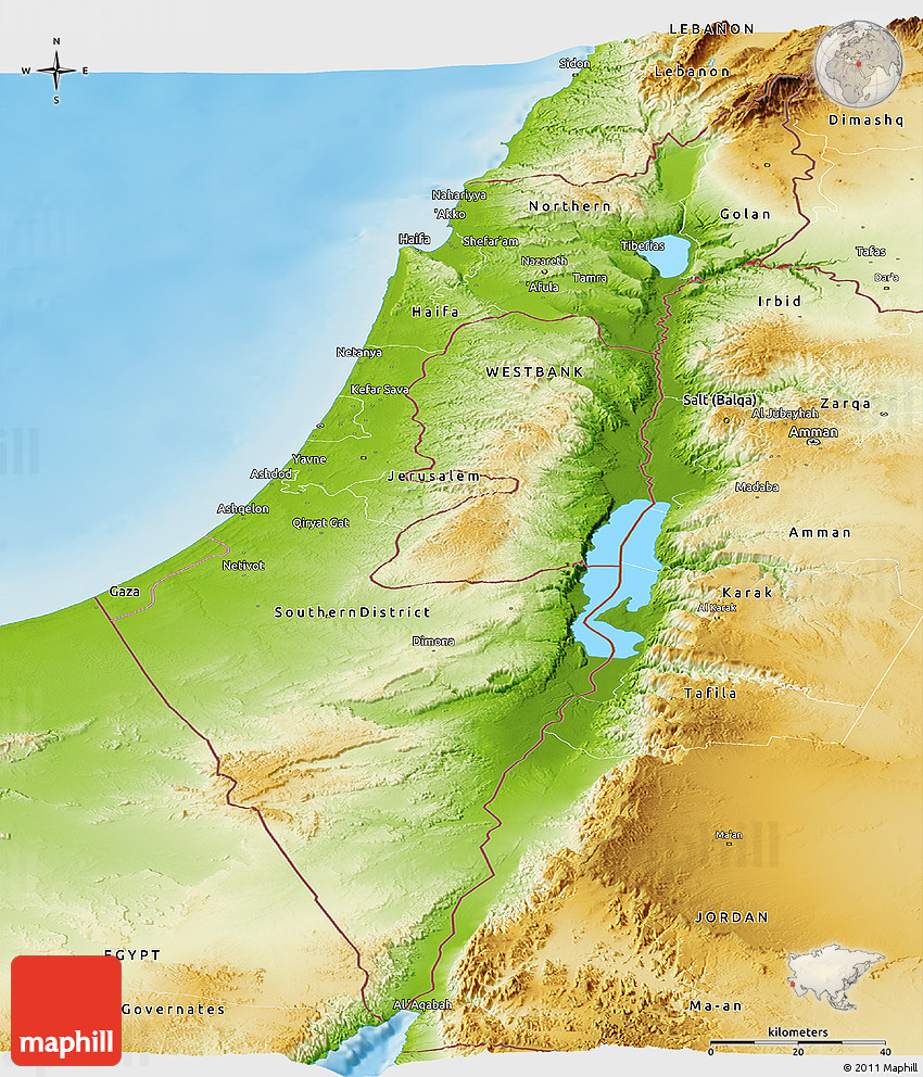 Physical Panoramic Map Of Israel - Maps of israel