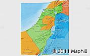 Political Shades Panoramic Map of Israel