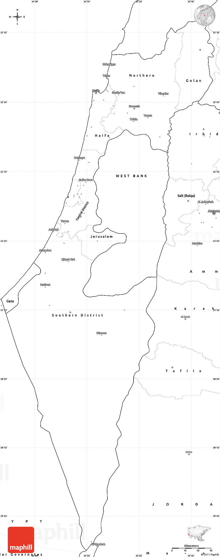 Picture of: Blank Simple Map Of Israel