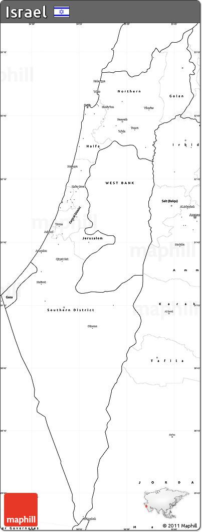 free blank simple map of israel