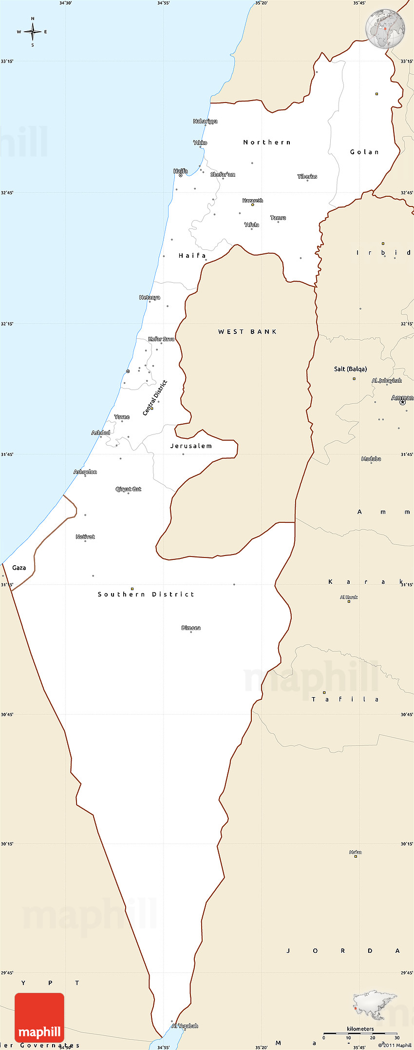 Classic Style Simple Map of Israel