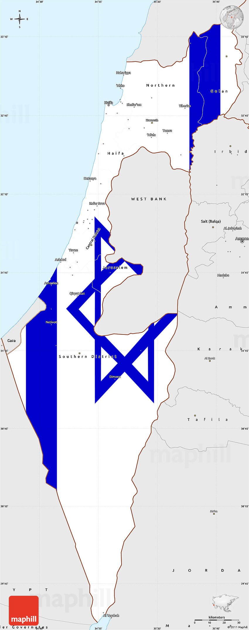 Flag Simple Map of Israel, single color outside, borders and ...