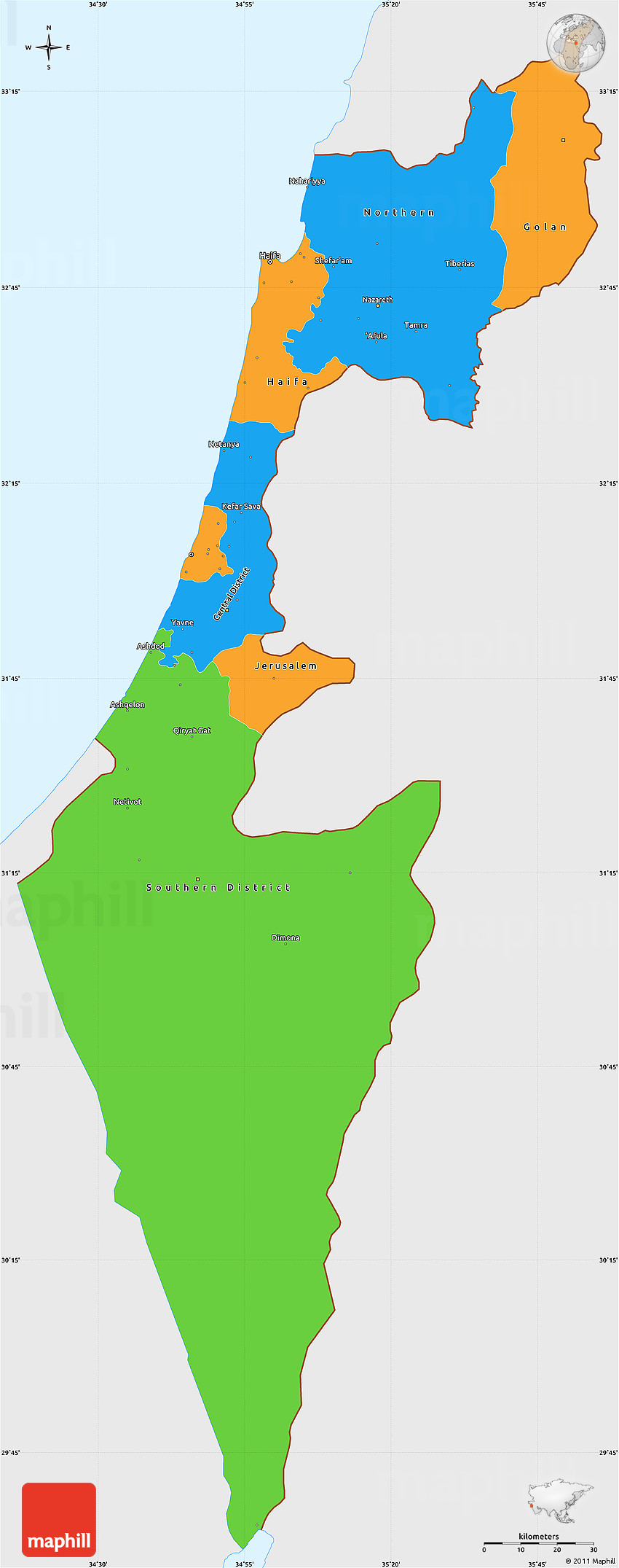 Political Simple Map of Israel single color outside