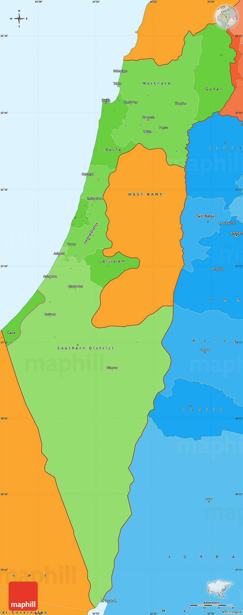 Political Shades Simple Map of Israel
